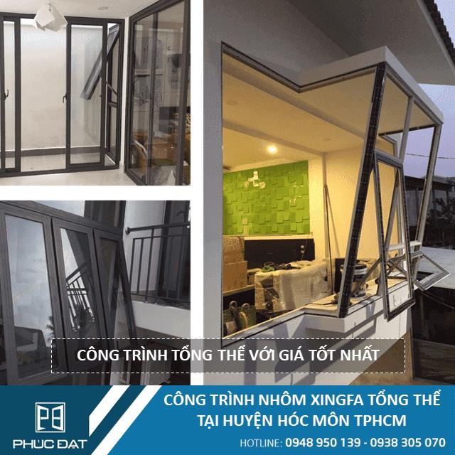 Công trình vách kính khung nhôm Xingfa & cửa sổ mở hất tại Quận Tân Phú, TpHCM