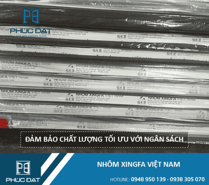 Cửa nhôm Xingfa Việt Nam (sản xuất trong nước) với chất lượng thấp hơn Xingfa nhập khẩu