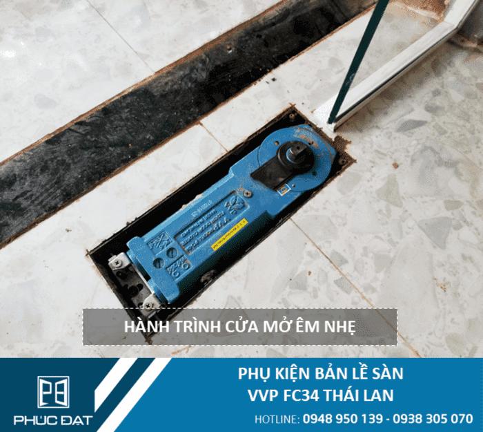Lắp đặt phụ kiện bản lề sàn VVP FC34 150kg