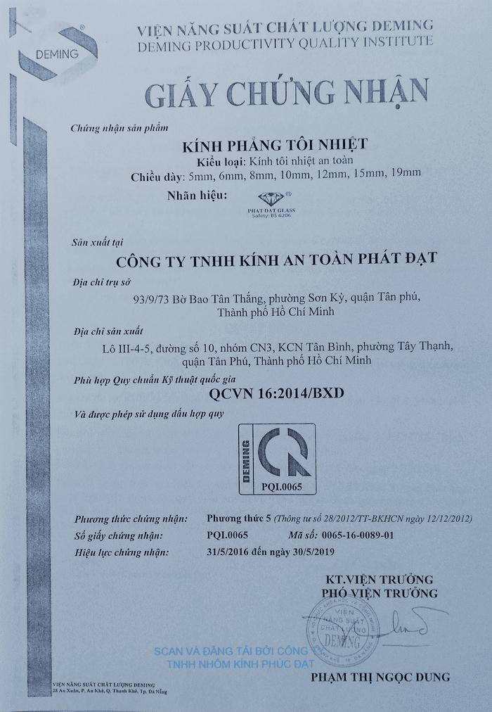 Chứng nhận Kính phẳng tôi nhiệt Công ty TNHH Kính an toàn Phát Đạt phù hợp QCVN 16:2014/BXD