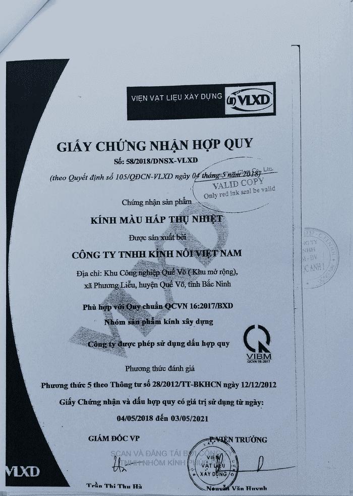 Chứng nhận hợp quy Kính màu hấp thụ nhiệt - QCVN 16:2017/BXD