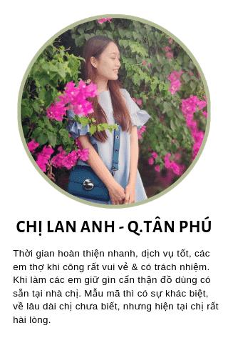 Chị Lan Anh - đường Hòa Bình - Quận Tân Phú - TpHCM phản hồi về dịch vụ nhôm kính Phúc Đạt