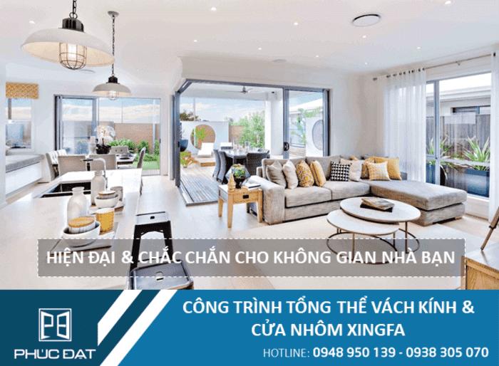 Công trình tổng thể cửa & vách kính khung nhôm Xingfa sử dụng kính Việt Nhật