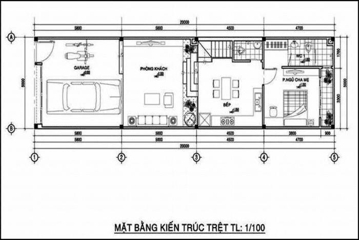 Mặt bằng tầng 1 Mẫu thiết kế nhà ống 2 tầng mặt tiền 5x20m