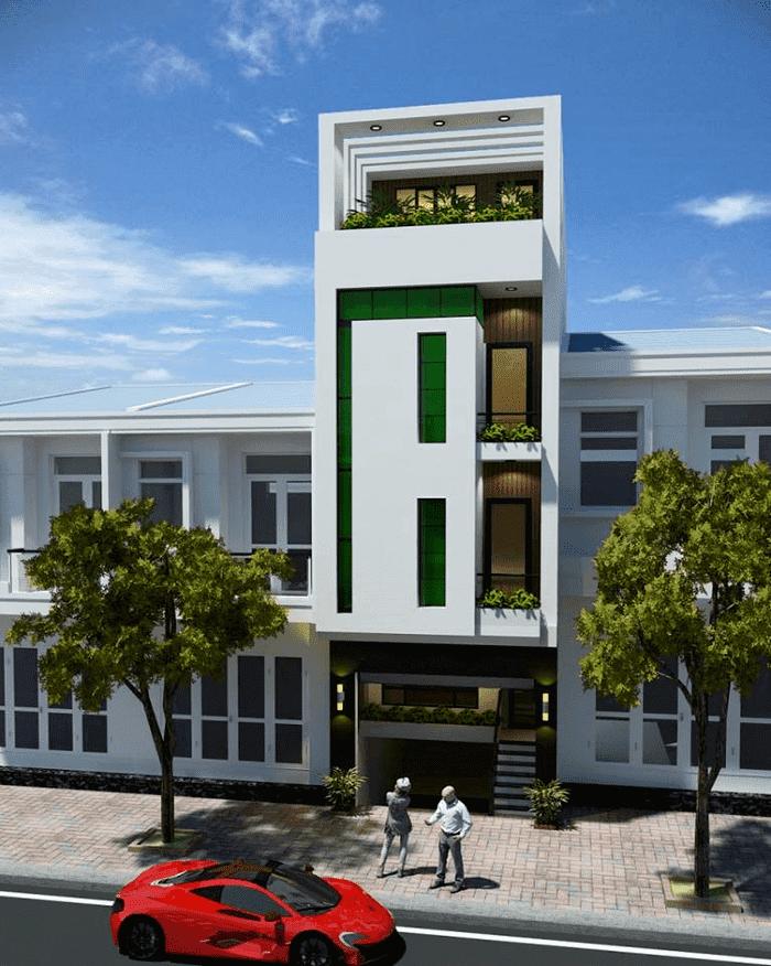 Mẫu 5: Mẫu nhà 2 tầng có tầng mái và hệ thống cửa nhôm kính đẹp và tiết kiệm chi phí
