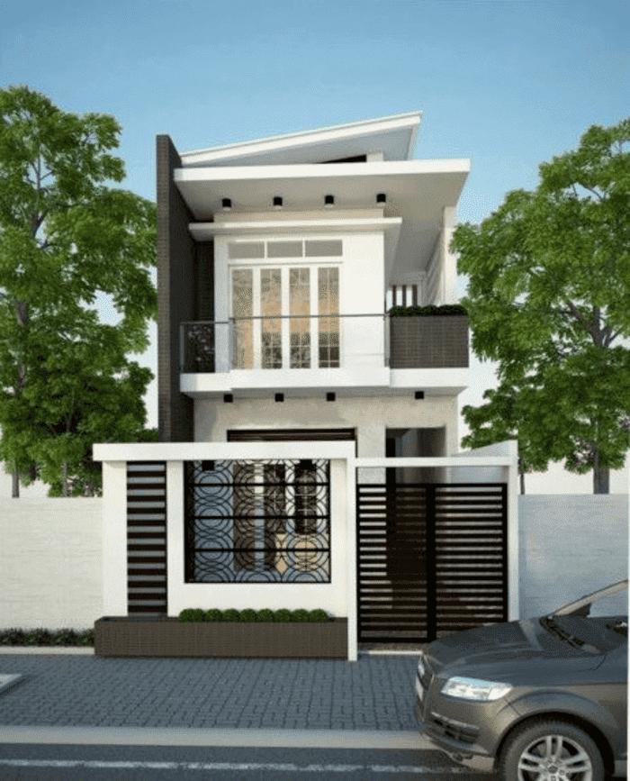 Mẫu 6: Mẫu nhà 2 tầng có tầng mái và hệ thống cửa nhôm kính đẹp và tiết kiệm chi phí