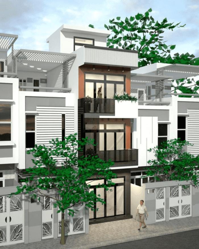 Mẫu 7: Mẫu nhà 2 tầng có tầng mái và hệ thống cửa nhôm kính đẹp và tiết kiệm chi phí