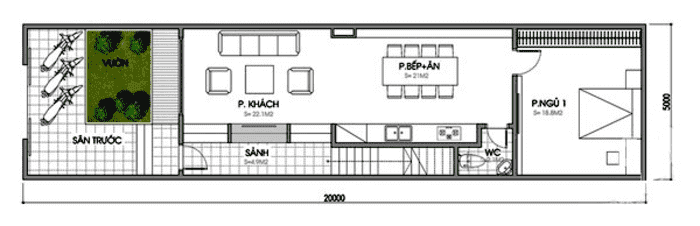 Mặt bằng tầng 1 Mẫu thiết kế nhà ống 2 tầng mặt tiền 5x15m với 5m sân vườn phía trước