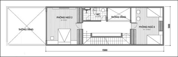 Mặt bằng tầng 2 Mẫu thiết kế nhà ống 2 tầng mặt tiền 5x15m với 5m sân vườn phía trước