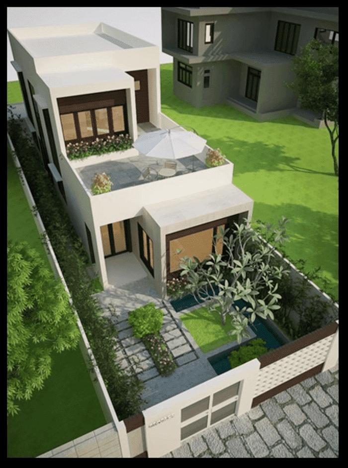 Mẫu 9: Mẫu nhà 2 tầng có sân vườn và hệ thống cửa nhôm- kính đẹp, tiện dụng để ngắm cảnh ngoài sân vườn