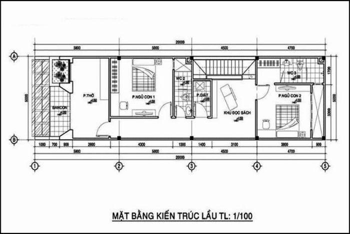 Mặt bằng tầng 2 Mẫu thiết kế nhà ống 2 tầng mặt tiền 5x20m