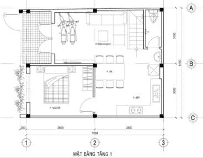 Mặt bằng tầng 1 Xây nhà 2 tầng có garage xe