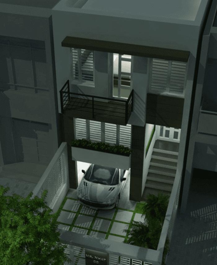 Mẫu 17: Mẫu nhà 2 tầng có garage và có cầu thang phụ để vào nhà, giúp tách biệt ngôi nhà và garage khá tiện lợi và an toàn cho việc đi lại