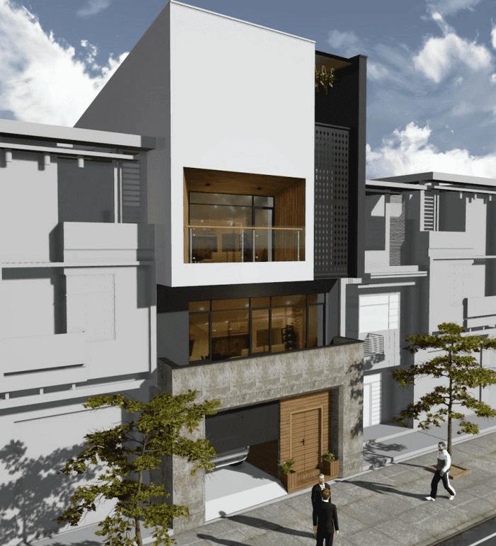Mẫu 21: Mẫu nhà 2 tầng có garage tầng trệt, các tầng trên đều sử dụng kính cường lực làm vật liệu cửa để tạo cảm giác không gian mở cho ngôi nhà