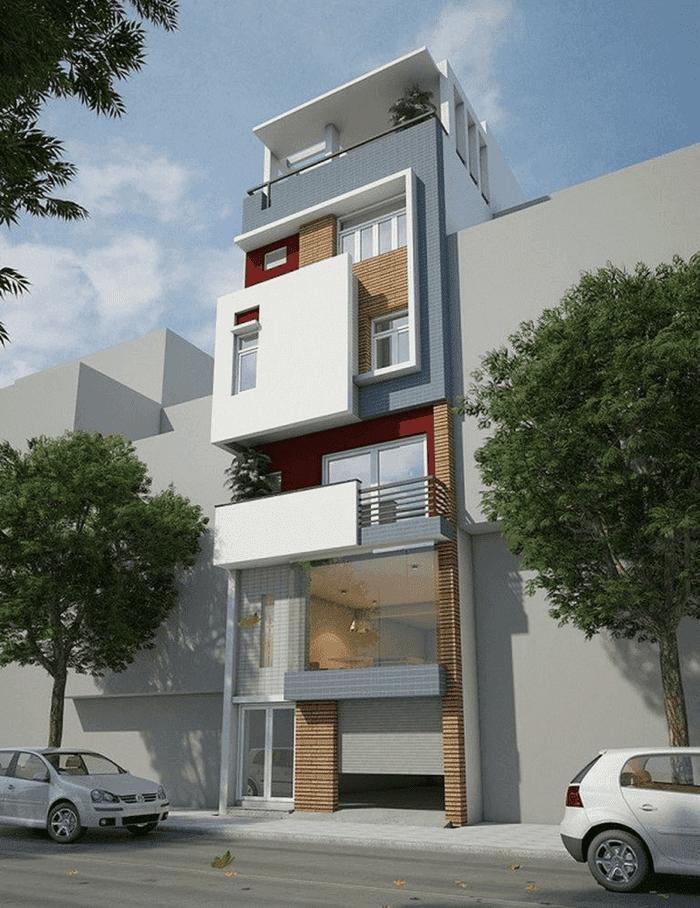 Mẫu 24: Mẫu nhà 2 tầng có garage ở tầng trệt thuận tiện cho việc đậu xe, phù hợp với các ngôi nhà có vị trí mặt tiền, mặt phố