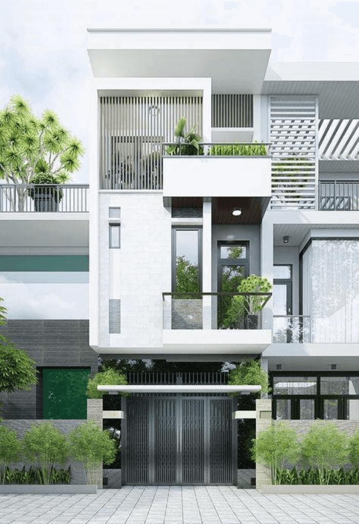 Mẫu 2- Mẫu nhà 2 tầng phong cách trẻ trung, hiện đại với giàn khung cửa nhôm- kính tông màu xám