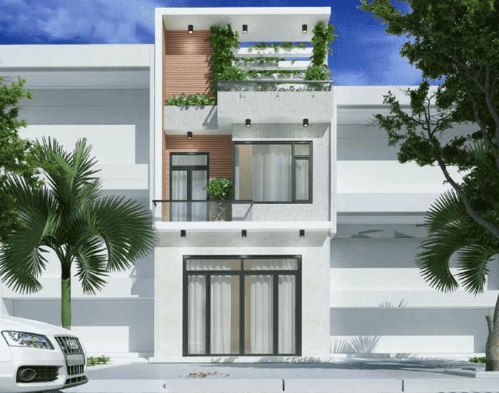 Mẫu 37: Mẫu nhà 2 tầng kết hợp sử dụng giàn cửa nhôm- kính hiện đại, sang trọng