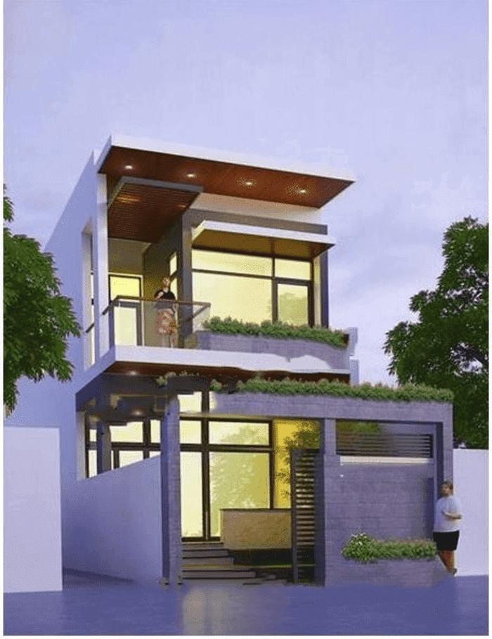 Mẫu 40: Mẫu nhà 2 tầng với không gian mở ở lan can khá rộng, có mái che tiện lợi, phù hợp cho các bạn yêu thích tập thể dục, yoga tại nhà, vừa yên tĩnh, vừa mát mẻ, trong lành