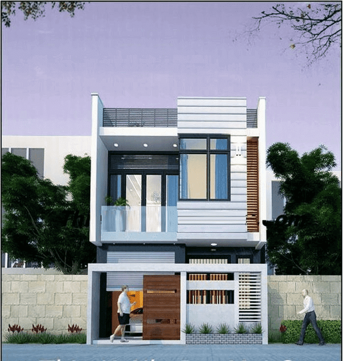 Mẫu 41: Mẫu nhà 2 tầng kết hợp garage ở tầng trệt tiết kiệm được diện tích nhà ở và chi phí xây dựng thay vì làm garage ở tầng hầm hay xây dựng nhiều tầng
