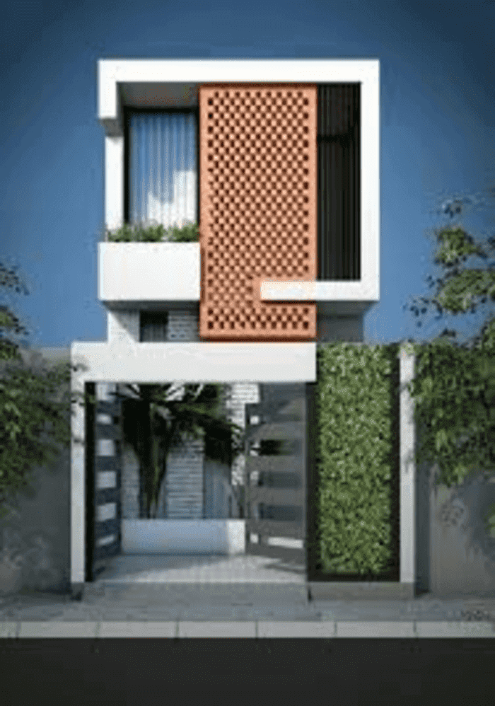 Mẫu 43: Mẫu nhà này có thiết kế độc đáo với hàng rào dây leo và bồn trồng cây ở trước nhà, đem lại không gian sống gần gũi thiên nhiên, tạo không khí trong lành