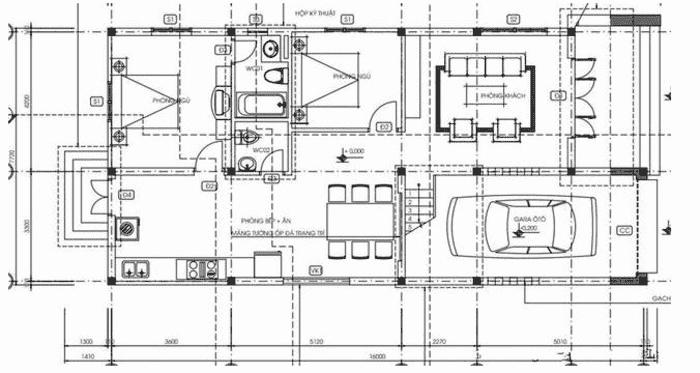 Mặt bằng tầng 1 Mẫu thiết kế nhà 2 tầng gồm 4 phòng ngủ