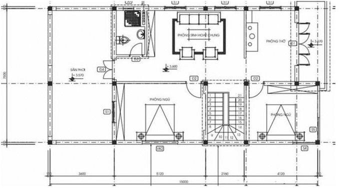 Mặt bằng tầng 2 Mẫu thiết kế nhà 2 tầng gồm 4 phòng ngủ