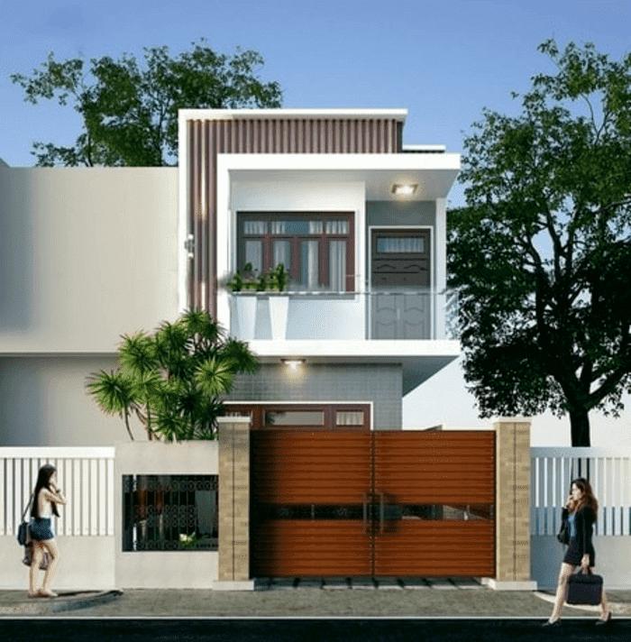 Mẫu 4: Mẫu nhà 2 tầng có tầng mái và hệ thống cửa nhôm kính đẹp và tiết kiệm chi phí