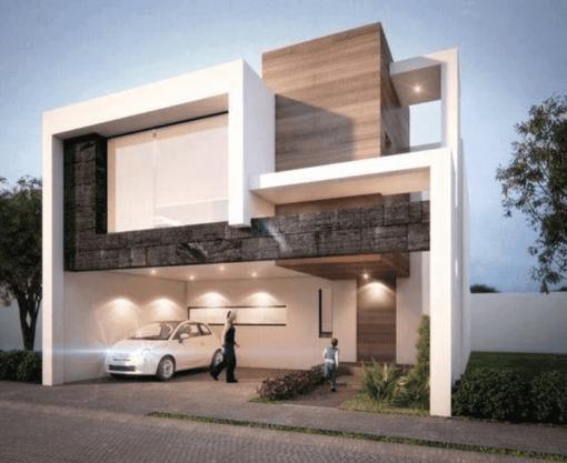 Mẫu 47: Mẫu biệt thự mini có sân trước dùng hẳn cho việc làm garage xe ô tô, thiết kế này phù hợp với các ngôi nhà có chiều dài tốt