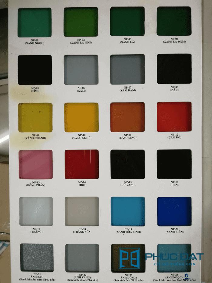 Bảng màu sắc kính sơn màu ốp bếp & làm vách ngăn