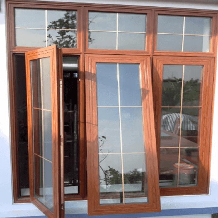 Cửa sổ nhôm hệ 3 cánh nhôm Xingfa vân gỗ đẹp.