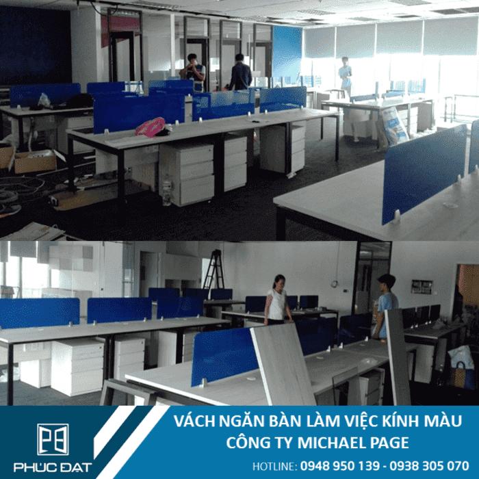Vách ngăn bàn làm việc văn phòng công ty Micheal Page