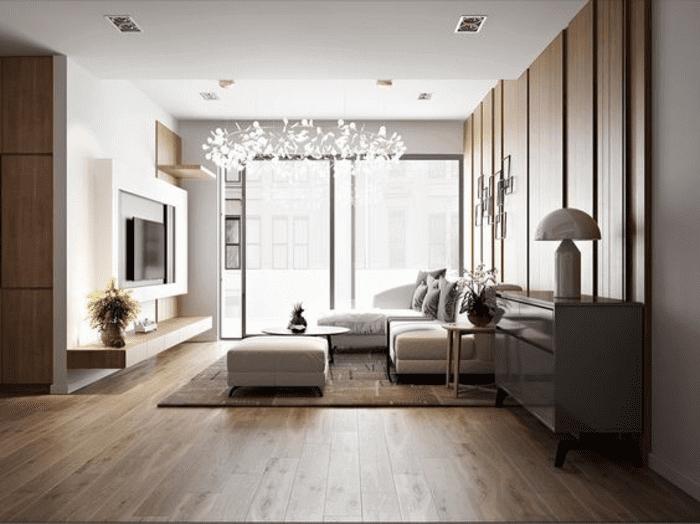 Cửa kính phòng khách chung cư kết nối với ban công ngoài trời đem lại sự thông thoáng cho không gian