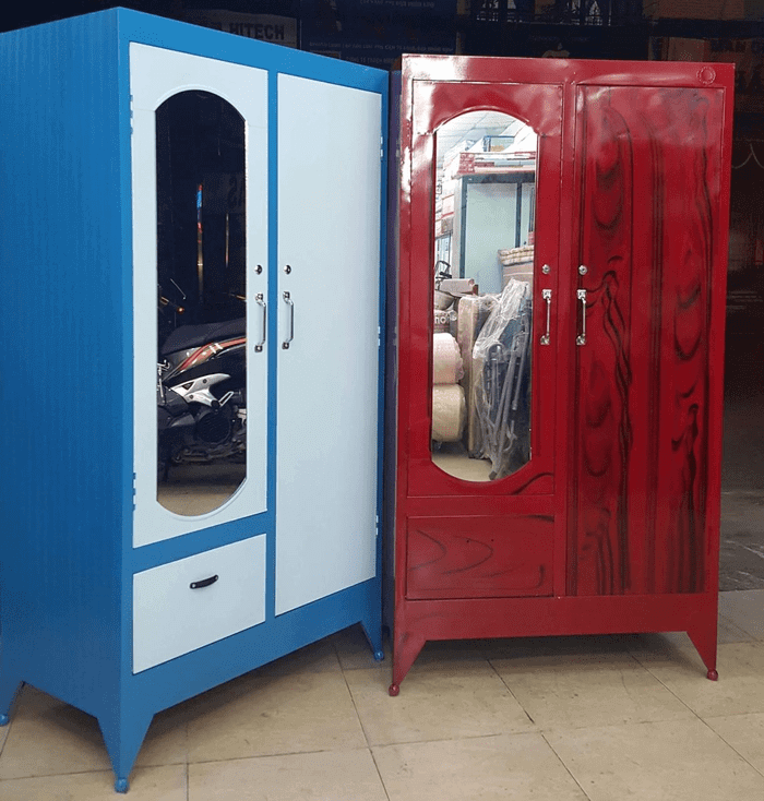 Tủ quần áo nhôm kính 2 buồng sơn màu xanh & màu vân giả gỗ