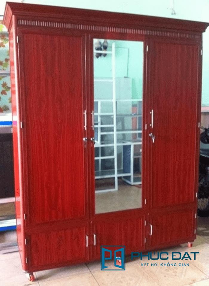 Mẫu tủ quần áo nhôm kính sơn giả vân gỗ