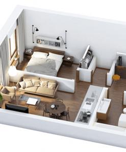 Bản vẽ 3D nhà cấp 4 diện tích 40m2 với 1 phòng ngủ, 1 phòng khách và bếp