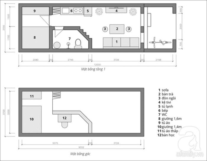 Bản vẽ nhà cấp 4 diện tích 44m2 có gác lửng và 2 phòng ngủ