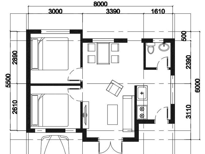 Nếu xây nhà giá rẻ thì chỉ cần bản vẽ mặt bằng, bố trí phòng ốc, cửa như này là ổn.