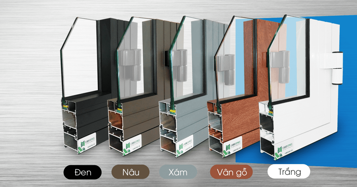 Các màu của cửa nhôm hệ 55 Xingfa nhập khẩu chính hãng.