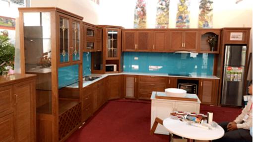 Tủ bếp nhôm vân gỗ có ngoại hình giống gỗ đến hơn 90%