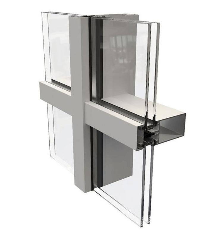 Mặt cắt của vách kính mặt dựng Unitized – Cấu tạo vách kính mặt dựng.