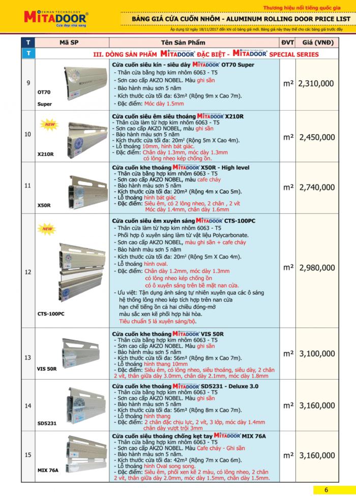 Bảng giá cửa cuốn Mitadoor - Dòng sản phẩm đặc biệt