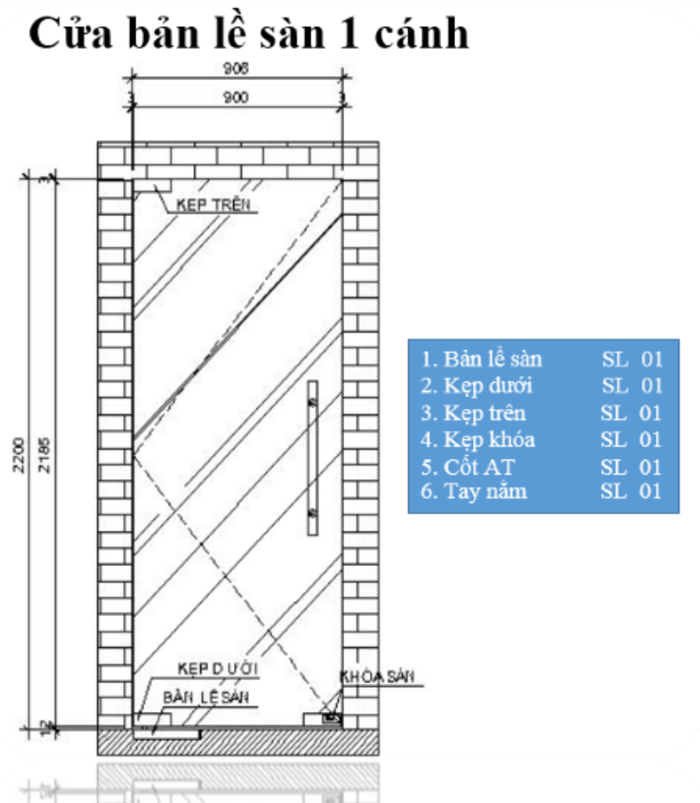 Kích thước mẫu cửa bản lề thủy lực 1 cánh và vách cố định tham khảo