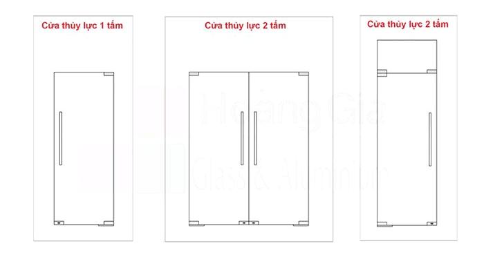 1 số cách chia tấm kính 1 cánh, 2 cánh cho cửa kính thủy lực