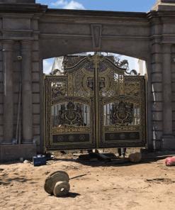 Mẫu cổng nhà biệt thự đẹp nhất bằng nhôm đúc với phần trụ cổng hoành tráng.