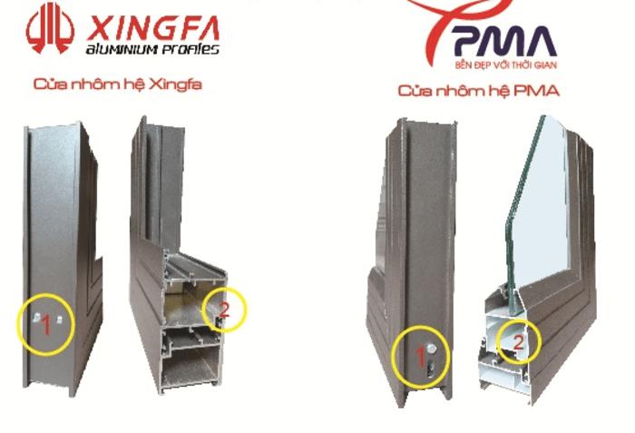 So sánh profile cửa nhôm Xingfa và nhôm PMA.