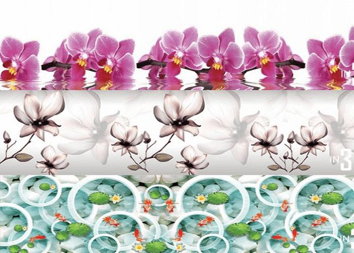 Kính ốp bếp hoa văn chủ đề hoa & hồ thủy sinh