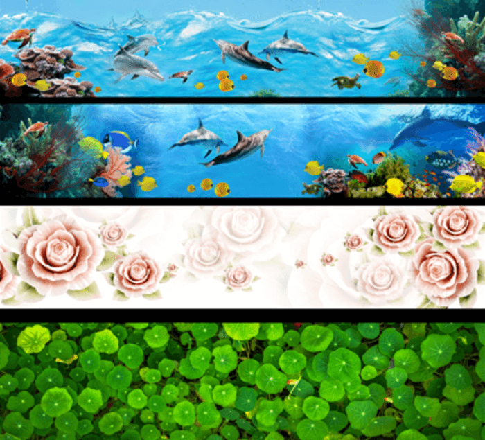 Các mẫu kính ốp bếp đẹp, kính in hoa văn: cảnh biển, hoa cỏ, cây cảnh.