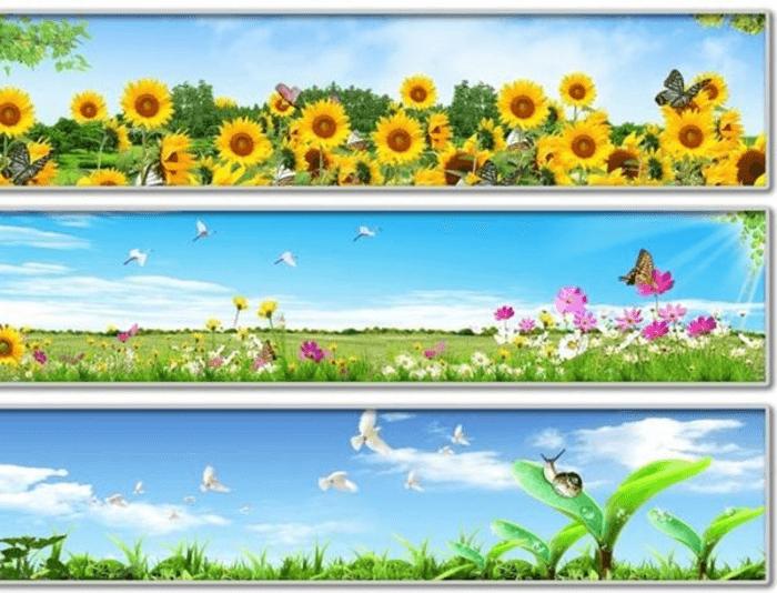 Kính ốp bếp chủ đề hoa và phong cảnh đồng cỏ