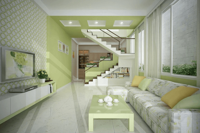 Thiết kế phòng khách có cầu thang đơn giản hiện đại.