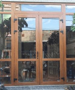 Mẫu cửa nhựa lõi thép Hà Nội lắp đặt hoàn thiện - Dòng cửa nhựa vân gỗ.